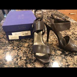 Stuart Weitzman Silver Sandals/strap heels.